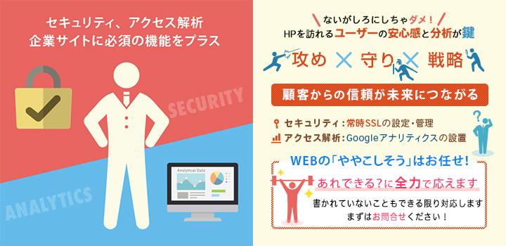 セキュリティ、アクセス解析 企業サイトに必須の機能をプラス
